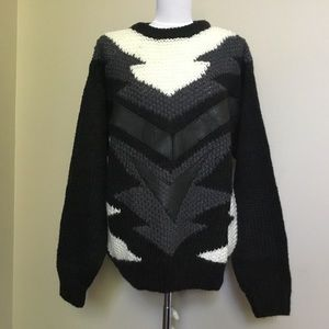Vintage 80s FORUM black Leather aztec sweater L